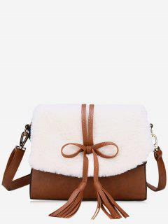 Bowknot Tassel Crossbody Bag - White