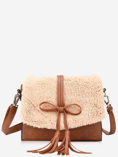 Bowknot Tassel Crossbody Bag - Brown