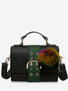 Buckle Strap Pompom Eyelets Crossbody Bag - Green