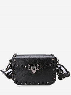 Striped Belt Rivets Crossbody Bag - Black