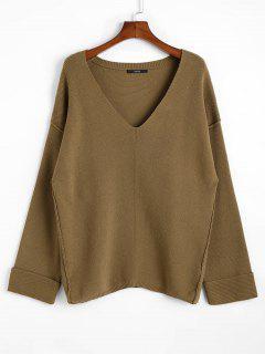 Übergroßer Tiefer Pullover Mit Tiefem Ausschnitt - Dunkles Khaki