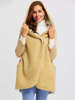 One Button Shearling Hooded Coat - Khaki