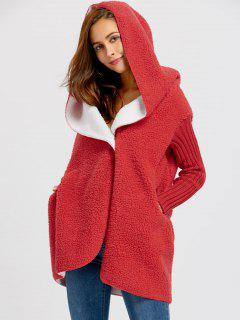 One Button Shearling Hooded Coat - Red