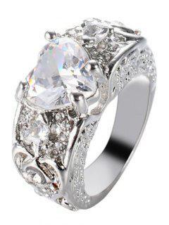 Engraved Faux Gem Heart Finger Ring - White 9