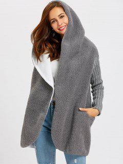 One Button Shearling Hooded Coat - Deep Gray