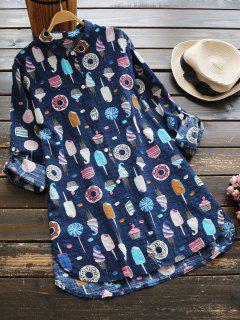 Chemise Longue à Motif De Dessert à Boutons - Bleu Profond