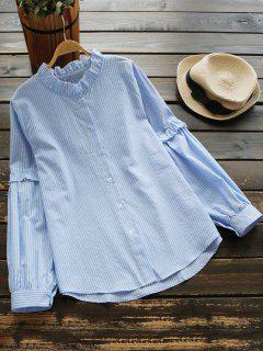 Blusa De Rayas Con Botones En El Cuello - Raya Azul L