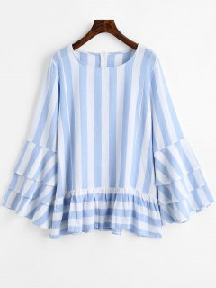 Tiered Flare Sleeve Ruffles Striped Blouse - Blue Stripe L