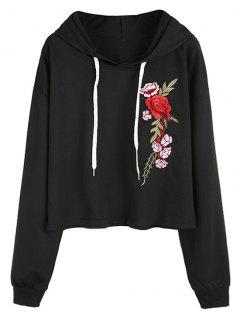 Floral Appliqued Drawstring Hoodie - Black M