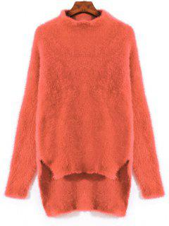 Schlitz High Low Mohair Pullover - Orange