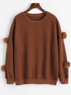 Pompoms Textured Sweatshirt - Sugar Honey