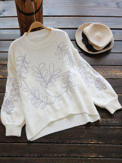 Drop Shoulder Lantern Sleeve Graphic Sweater - Off-white