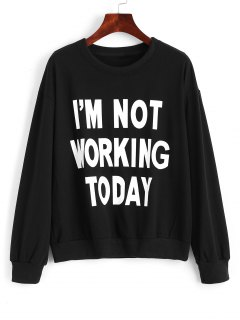 Cotton Fitting Front Slogan Sweatshirt - Black M