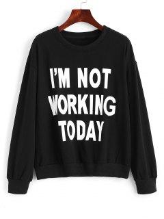 Cotton Fitting Front Slogan Sweatshirt - Black Xl