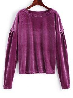 Sweat-shirt En Velours à Épaules Tombantes - Violet Rouge Xl