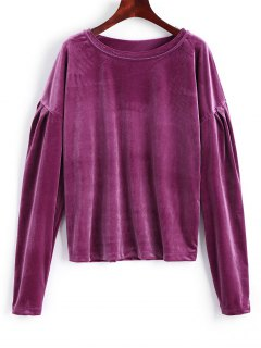 Drop Shoulder Crushed Velvet Sweatshirt - Purple Red 2xl