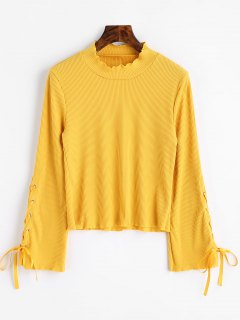 High Neck Lace Up Sleeve Ribbed Knitwear - Yellow M