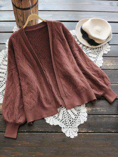 Lantern Sleeve Cable Knit Open Cardigan - Brick-red