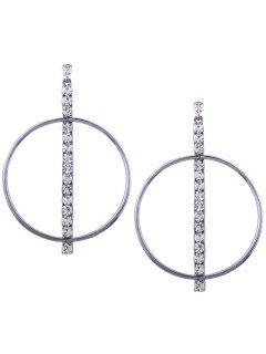 Metal Rhinestone Circle Earrings - Gun Black