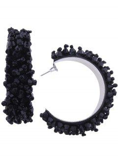 Artificial Crystal Beaded Half Circle Earrings - Black