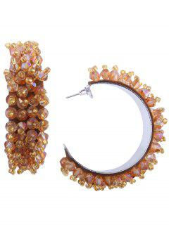 Artificial Crystal Beaded Half Circle Earrings - Champagne