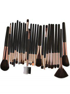 25Pcs High Quality Fiber Makeup Brushes Set - Black