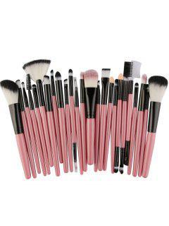 25Pcs High Quality Fiber Makeup Brushes Set - Pink