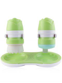 2Pcs Silicone Twins Design Facial Cleansing Brush - Green