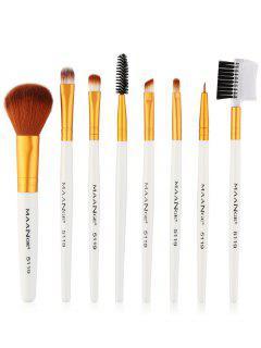 8 Pièces Ensemble De Pinceaux à Maquillage Pour Les Yeux Multifonctions - Blanc Et Or