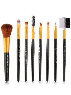 8pcs Conjunto De Pinceles De Maquillaje De Ojos Multifuncional - Negro Y Dorado