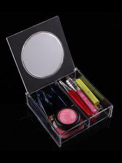 Acrylic Transparent Cosmetics Storage Box With Mirror - Transparent