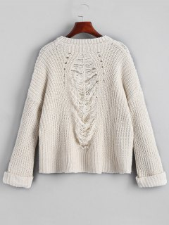 Oversized Chunky Destroyed Sweater - White