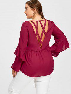 Plus Size Flounced Layered Sleeve Open Back Blouse - Red 3xl
