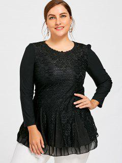 Plus Size Sequined Layered Lace Blouse - Black 4xl