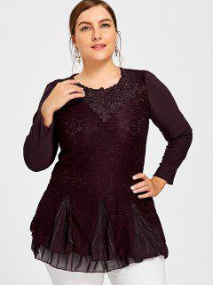 Plus Size Sequined Layered Lace Blouse - Dark Red 4xl