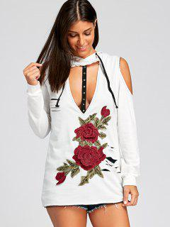 Applique Cold Shoulder Keyhole Hoodie - White L