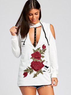 Sweat-shirt à Capuche à épaule Froide En Appliqué - Blanc M