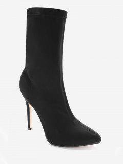 Point Toe Stiletto Heel Stretch Sock Boots - Black 35
