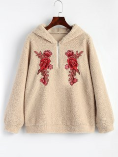 Half Zip Textured Floral Embroidered Hoodie - Nude L