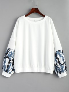 Oversized Camouflage Panel Sweatshirt - White S
