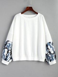 Oversized Camouflage Panel Sweatshirt - White M
