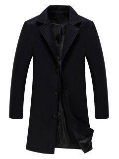 Single Breasted Longline Woolen Coat - Black 2xl