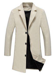 Single Breasted Longline Woolen Coat - Off-white 2xl