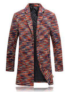 Lapel Knit Blends One Button Padded Coat - Jacinth 3xl
