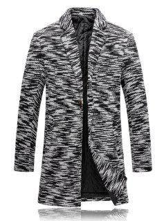 Lapel Knit Blends One Button Padded Coat - Black White 2xl