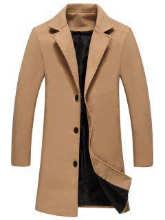 Single Breasted Longline Woolen Coat - Khaki 2xl