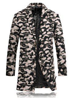 Lapel Leopard Padded Woolen Coat - 3xl