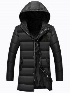 Hooded Applique Longline Zip Up Padded Coat - Black 3xl