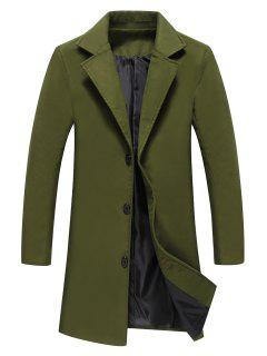Single Breasted Longline Woolen Coat - Army Green 4xl