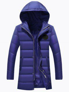 Hooded Applique Longline Zip Up Padded Coat - Blue 3xl